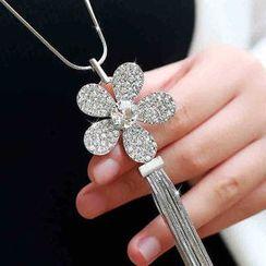 Glitglow - Rhinestone Flower Fringe Pendant Long Necklace