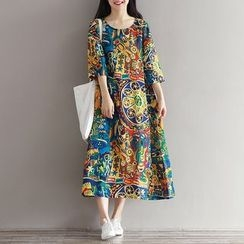 Dream Girl - 3/4-Sleeve Print A-line Midi Dress