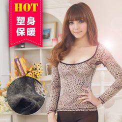 Giselle Shapewear - Fleece Lined Leopard Print Long-Sleeve Top
