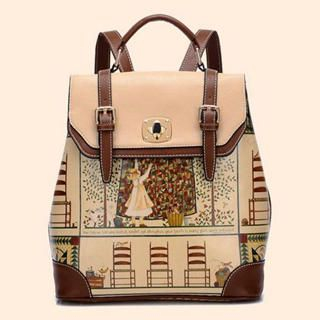 BeiBaoBao - Faux Leather Contrast Trim Print Backpack