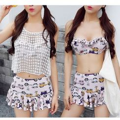Jumei - Set: Printed Bikini Top + Swimskirt + Lace Cover-Up Top
