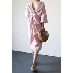ATTYSTORY - Long-Sleeve Knot-Detail Long Shirtdress