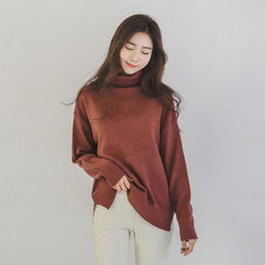 JUSTONE - Turtle-Neck Drop-Shoulder Knit Top