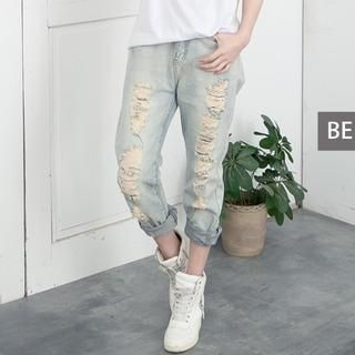 CUTIE FASHION - Distressed Straight-Leg Jeans