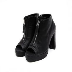 midnightCOCO - Open-Toe Zip-Front Platform Ankle Boots
