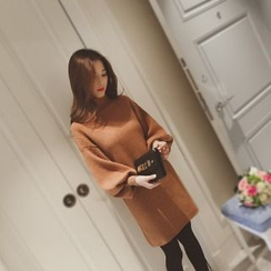 Knitemps - Puff-Sleeve Sweater Dress