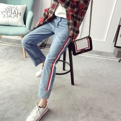 Qimi - Striped Straight Cut Jeans