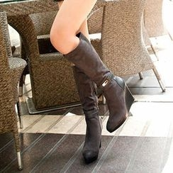 Mancienne - Buckled Wedge Long Boots