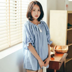 11.STREET - Elbow-Sleeve Frilled Striped Blouse