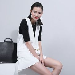 Sonne - 後背網紗拼接馬甲+短褲套裝