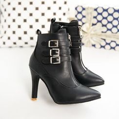 BAYO - Heel Strapped Pointy Ankle Boots