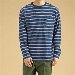 THE COVER - Washed Denim Stripe T-Shirt