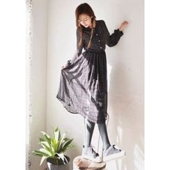 GOROKE - Tie-Neck Plaid Chiffon Long Dress
