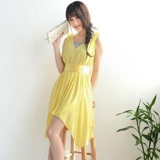 9mg - Sleeveless Hanky Hem Chiffon Dress