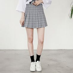 Envy Look - Glen-Plaid Check Pleated Mini Skirt