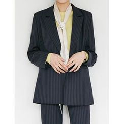 FROMBEGINNING - Double-Breasted Pinstriped Blazer