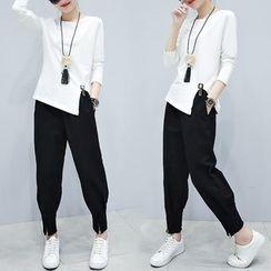 Lavogo - 套裝: 開衩長袖T恤 + 哈倫褲