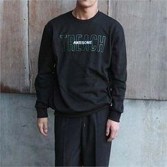 BYMONO - Lettering-Embroidered Brushed-Fleece Lined Sweatshirt