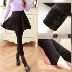 nooyi - Inset Skirt Fleece-Line Leggings
