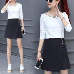 Lavogo - Set: Long-Sleeve T-Shirt + A-Line Skirt