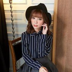 BAIMOMO - Long-Sleeve Striped Blouse