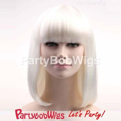 Party Wigs - PartyBobWigs - Party Medium Bob Wig - White