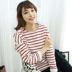 Dodostyle - Fleece-Lined Long-Sleeve Striped T-Shirt