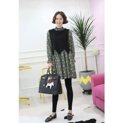 Lemite - Inset Sleeveless Knit Top Flower Pattern A-Line Dress