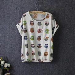Rosadame - 猫头鹰图案T恤