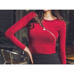 UUZONE - Zip-Detail Slim-Fit Top