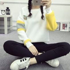 Ukiyo - Embroidered Color Block Sweatshirt