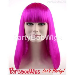 Party Wigs - PartyBobWigs - Party Long Bob Wig - Neon Violet