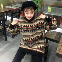 Eva Fashion - Patterned Long Sweatshirt