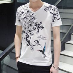 Riverland - Print V-Neck T-Shirt