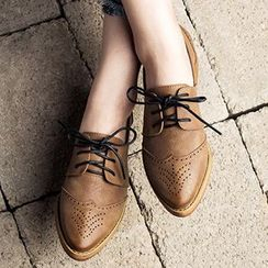 MIAOLV - Pointed Brogue Oxfords