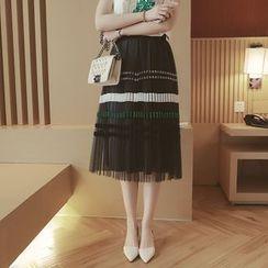 Mida - Pleated Striped Midi Skirt