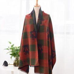 羚羊早安 - 小熊印花格紋圍巾