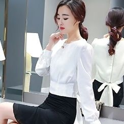 Romantica - Set: Tie-Back Blouse + Dip-Back Skirt