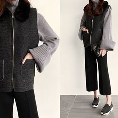 NIPONJJUYA - Faux-Fur Collar Zip-Up Vest