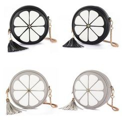 BeiBaoBao - Faux-Leather Tasseled Round Cross Bag