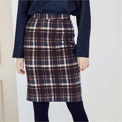 MAGJAY - Zip-Back Checked Pencil Skirt
