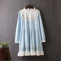Blue Rose - Long-Sleeve Embroidered Pleated Dress