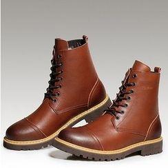 Preppy Boys - 真皮系带短靴