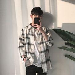 JUN.LEE - Frayed Hem Plaid Shirt