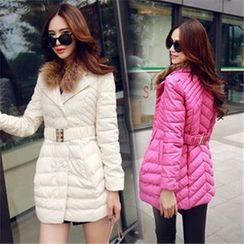 AiSun - Faux Fur Collar Padded Coat