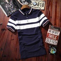 COOLS - 条纹短袖马球衫