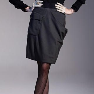 Moonbasa - Asymmetric Draped Pencil Skirt