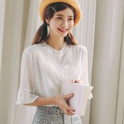 SUYISODA - Embroidered Bell-Sleeve Blouse