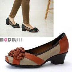 MODELSIS - Genuine Leather Floral Appliqué Pumps
