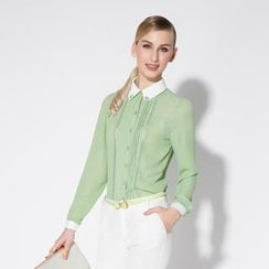 O.SA - Jeweled-Collar Pleated Chiffon Blouse